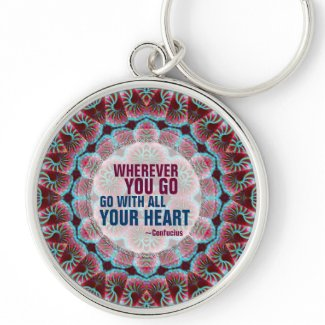 With All Your Heart Geometry Quote Keychain keychain