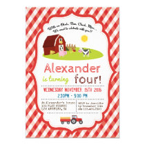 WITH AN OINK, BAA, CLUCK, MOO FARM BIRTHDAY PARTY INVITATION