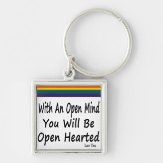With An Open Mind You Will Be Open Hearted Silver-Colored Square Keychain