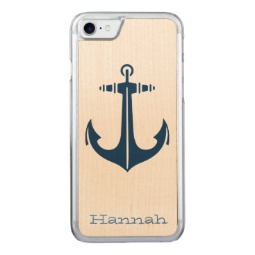 Beach Themed with Anchor Carved iPhone 7 Case