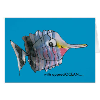 With appreciOCEAN blue cartoon fish thank you card