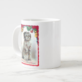 With Best Christmas Wishes Vintage Puppy Large Coffee Mug