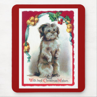With Best Christmas Wishes Vintage Puppy Mouse Pad