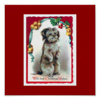 With Best Christmas Wishes Vintage Puppy Print