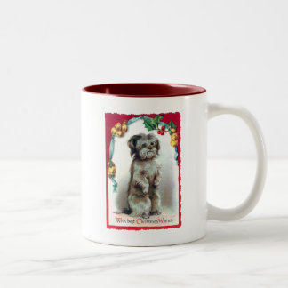 With Best Christmas Wishes Vintage Puppy Two-Tone Coffee Mug