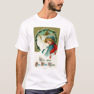 With Best New Year Wishes Sledding Scene T-Shirt