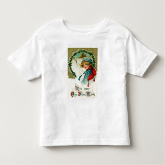 With Best New Year Wishes Sledding Scene Toddler T-shirt