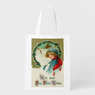 With Best New Year Wishes Sledding Scene Grocery Bags