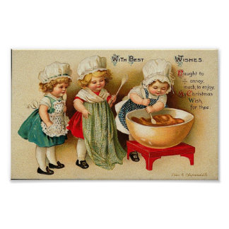 With Best Wishes Children Baking Card Posters