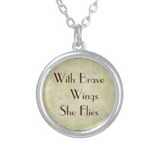 With Brave Wings She Flies Woman Power Silver Plated Necklace