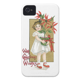 With Christmas Wishes Vintage Christmas Card iPhone 4 Case-Mate Case