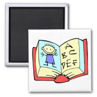 With �cole, one learns how � to read - 2 inch square magnet