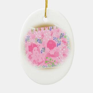 With dance 妓 a so bo 6 ceramic ornament