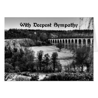 With Deepest Sympathy Black White Bridge Landscape Card