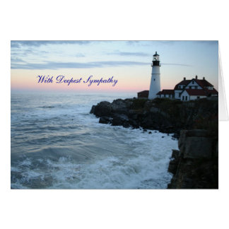 With deepest sympathy lighthouse card