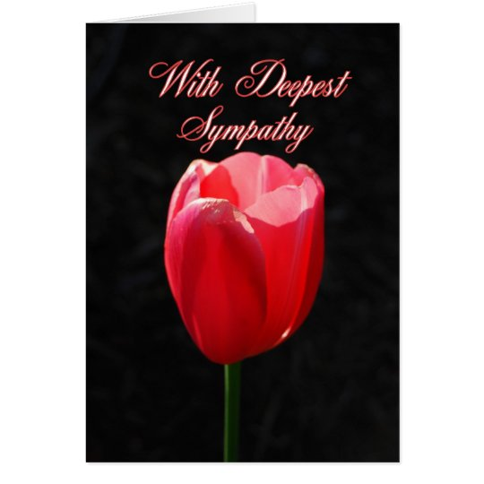 With Deepest Sympathy Red Tulip Card