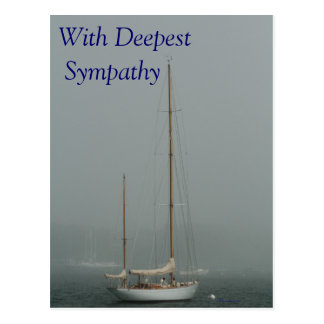 With Deepest Sympathy, sailboat in the fog. Postcard