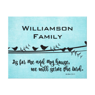With Family Name; As for me & my House Bible Verse Canvas Print