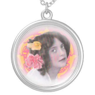 With Flowers In Her Hair...Vintage Portrait Personalized Necklace