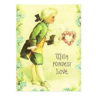 With Fondest Love Vintage Victorian Valentine Postcard