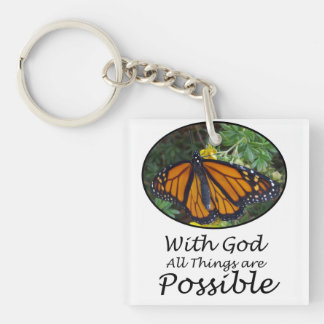 With God All Things Are Possible Monarch Butterfly Keychain