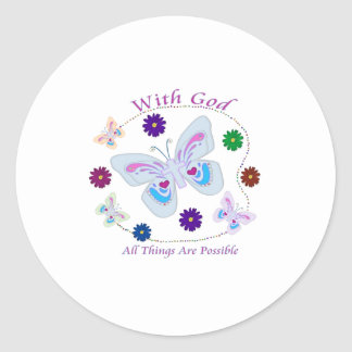 With God All Things are possible Round Stickers