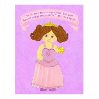 With God all things possible~Princess~Scripture Postcard