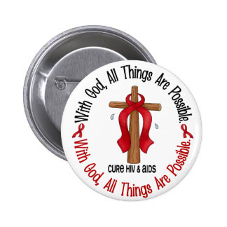 WITH GOD CROSS AIDS HIV T-Shirts Gifts Buttons