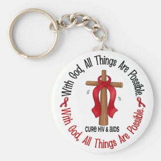 WITH GOD CROSS AIDS / HIV T-Shirts & Gifts Key Chains