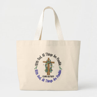 WITH GOD CROSS AUTISM T-Shirts & Gifts Tote Bags