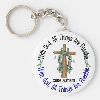 WITH GOD CROSS AUTISM T-Shirts & Gifts Basic Round Button Keychain