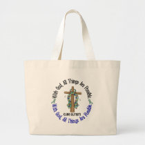 WITH GOD CROSS AUTISM T-Shirts & Gifts Large Tote Bag