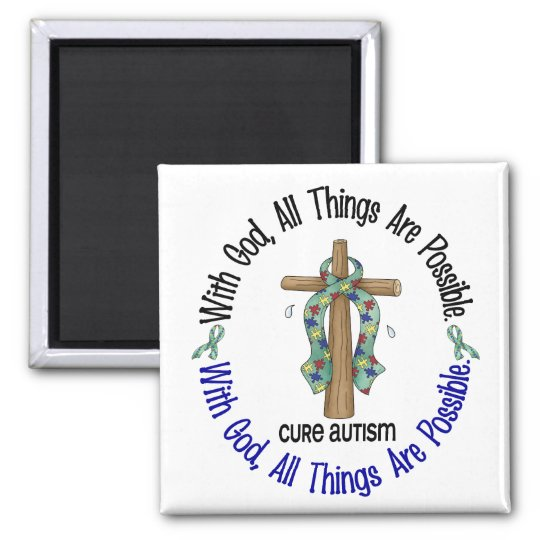 WITH GOD CROSS AUTISM T-Shirts & Gifts Magnet