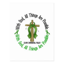 WITH GOD CROSS Cerebral Palsy T-Shirts & Gifts Postcard