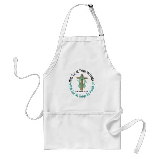 WITH GOD CROSS Cervical Cancer T-Shirts & Gifts Adult Apron