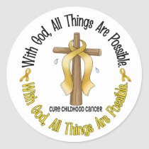 WITH GOD CROSS Childhood Cancer T-Shirts & Gifts Classic Round Sticker