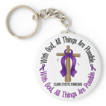 WITH GOD CROSS Cystic Fibrosis T-Shirts & Gifts Keychain