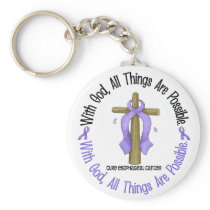WITH GOD CROSS Esophageal Cancer T-Shirts & Gifts Keychain