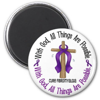 WITH GOD CROSS Fibromyalgia T-Shirts & Gifts Refrigerator Magnets