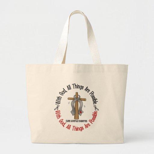 WITH GOD CROSS Juvenile Diabetes T-Shirts & Gifts Jumbo Tote Bag