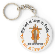 WITH GOD CROSS Kidney Cancer T-Shirts & Gifts Keychain