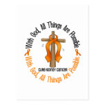 WITH GOD CROSS Kidney Cancer T-Shirts & Gifts Postcards