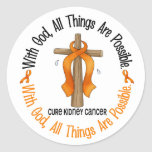 WITH GOD CROSS Kidney Cancer T-Shirts & Gifts Sticker