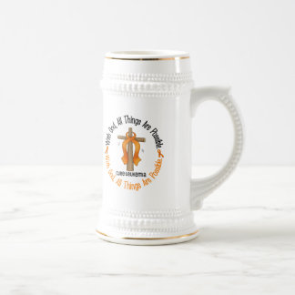 WITH GOD CROSS Leukemia T-Shirts & Gifts 18 Oz Beer Stein