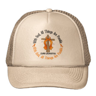 WITH GOD CROSS Leukemia T-Shirts & Gifts Trucker Hat