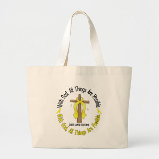 WITH GOD CROSS Liver Cancer T-Shirts & Gifts Large Tote Bag