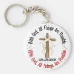 WITH GOD CROSS Lung Cancer T-Shirts & Gifts Basic Round Button Keychain