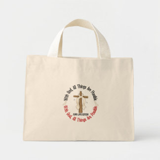 WITH GOD CROSS Lung Cancer T-Shirts & Gifts Mini Tote Bag