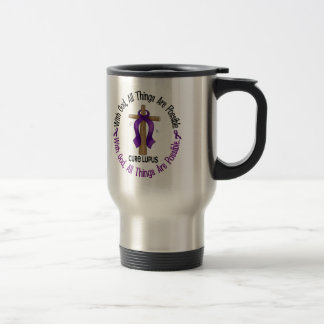 WITH GOD CROSS Lupus T-Shirts & Gifts 15 Oz Stainless Steel Travel Mug
