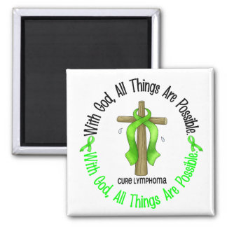 WITH GOD CROSS Non-Hodgkin's Lymphoma T-Shirts 2 Inch Square Magnet